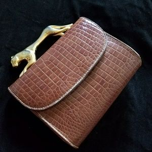 Handbags - Vintage Alligator leather purse w/brass panther